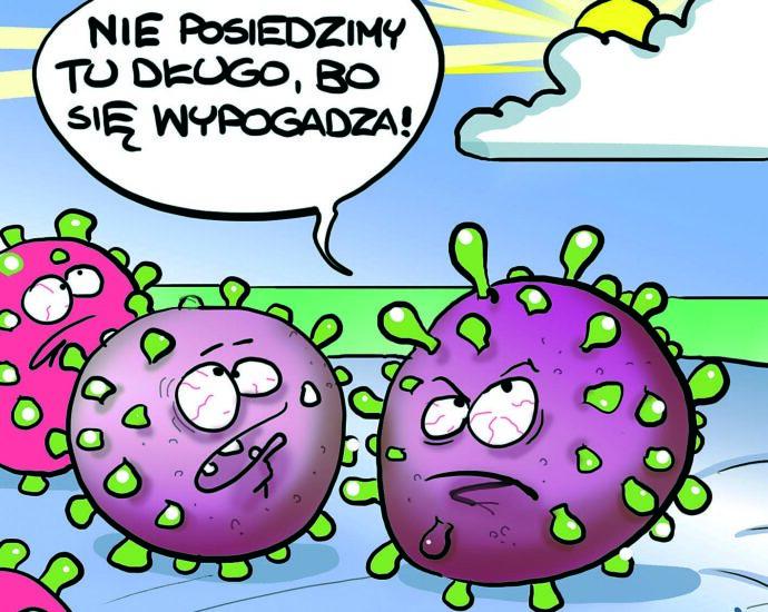 Maseczka bez bakterii | Rys. Piotr Rajczyk