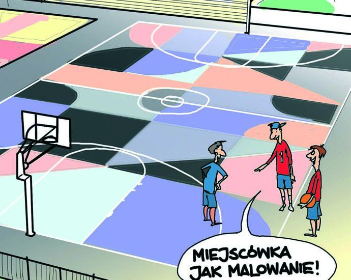 Kolorowe boiska do koszykówki Rys. Piotr Rajczyk